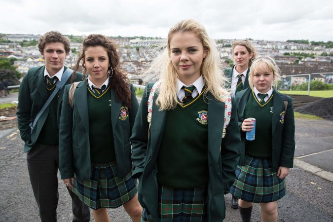 l-r:  James Maguire (Dylan Llewellyn), Michelle Mallon (Jamie-Lee O'Donnell), Erin Quinn (Saoirse Jackson), Orla McCool (Louisa Harland), Clare Devlin (NIcola Coughlan),