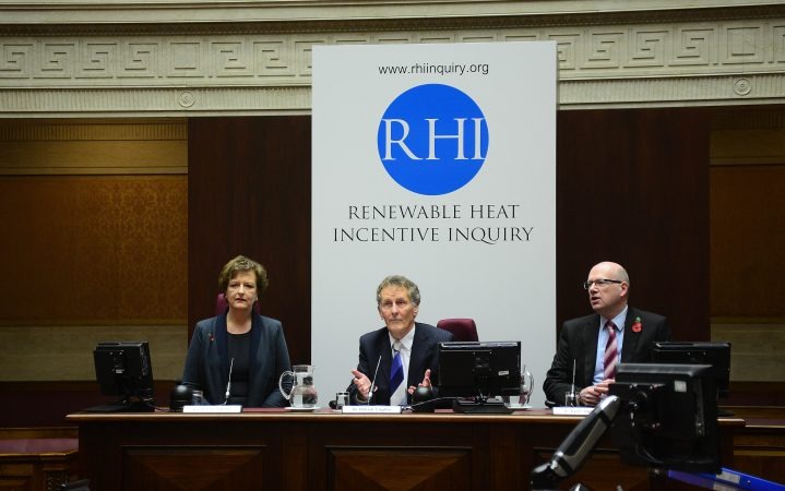 Pacemaker Press Belfast 07-11-2017: The Independent Public Inquiry into the Non Domestic Renewable Heat Incentive (RHI) Scheme started on Tuesday 7 November 2017 in the Senate Chamber, Parliament Buildings, Stormont Estate, Belfast. The InquiryÕs Chairman, the Right Honourable Sir Patrick Coghlin, commenced proceedings with a short opening address. Mr David Scoffield QC, Senior Counsel to the Inquiry, will then begin his opening statement which is expected to continue for most of the week. Picture By: Arthur Allison.