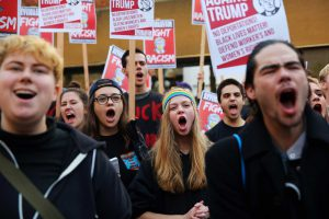Anti-Donald Trump protestors gather at Westlake Park for a post-election rally and march, Wednesday evening, Nov. 9, 2016. (Genna Martin, seattlepi.com)