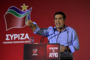 epa04915450 Former Prime Minister and president of SYRIZA Alexis Tsipras delivers a speech during a pre-election rally in Kaisariani district of east Athens, Greece, 05 September 2015. Elections will be held on 20 September.  EPA/ORESTIS PANAGIOTOU